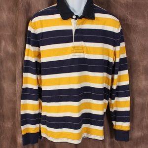 Lands End Navy/Yellow/White Striped Polo Shirt